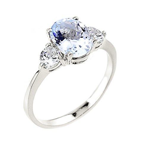- Dainty 10k White Gold Aquamarine 3-Stone Engagement Ring (Size 5)