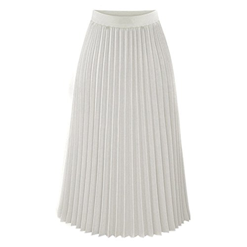 - Bokeley Women's Classic Pleated Mid-Length Jersey Knit Midi Skirt with Comfortable Elastic Waistband (XL, White)