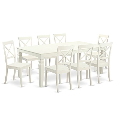 East West Furniture LGBO9-LWH-W 9Piece Table & Chair Set with One Logan Dining Room Table & Eight Dining Room Chairs in Linen White Finish