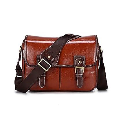 Camera Bag Case for Canon Nikon Sony DSLR SLR Camera Messenger Waterproof PU Leather Camera Backpack Travel Bag Shoulder Bag(Brown) Toobao