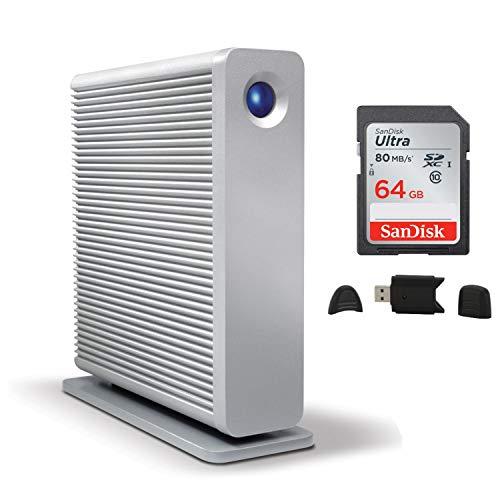 LaCie d2 Quadra 6TB External Desktop Hard Drive + SanDisk 64GB Ultra UHS-I Class 10 SDXC Memory Card + MMC MultimediaCard & SD Secure Digital Reader USB Bundle