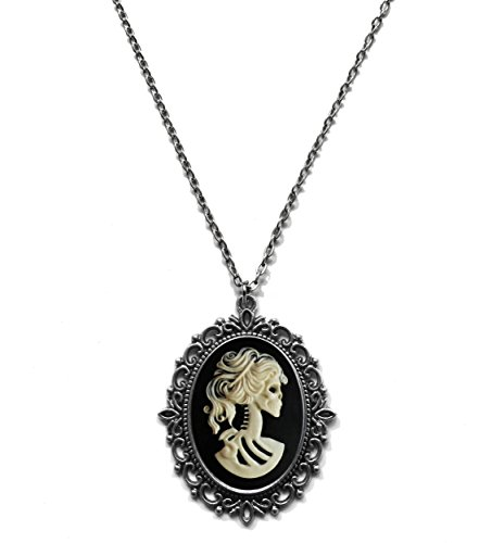 Victorian Vault Skeleton Skull Cameo Steampunk Gothic Pendant Necklace on Chain ()