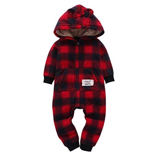 Kehen Baby Boys Girls Red Black Grid Fleece Rompers Jumpsuit Hooded Pocket Bobysuit Pajamas Clothes (Black & Red, 6-9 Months)