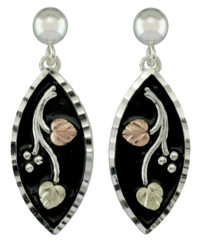 Antiqued Diamond-Cut Marquise Earrings, Sterling Silver, 12k Green and Rose Gold Black Hills Gold Motif by The Men's Jewelry Store (for HER)