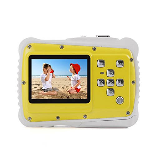 Kids Digital Camera – Waterproof to 3 Meters – HD Video Recorder and 5 Mega Pixels – Shockproof Childrens Camera (Yellow) by BAVISION