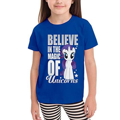 Syins Child My Little Pony Rarity BELIEVE IN THE MAGIC OF UNICORN Printsummertime Short Sleeve T Shirt Blue