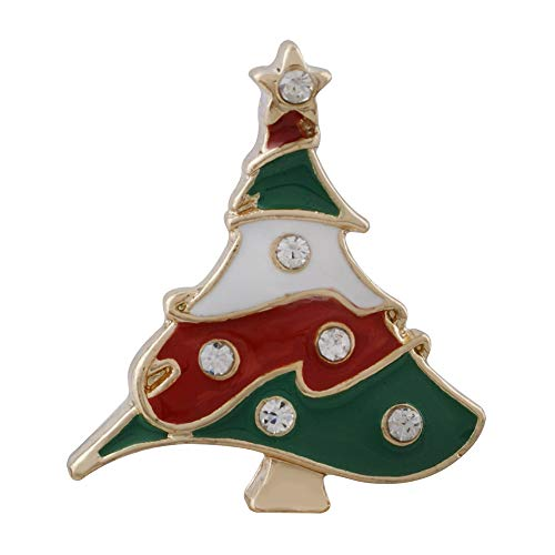 Lovmoment 20MM Christmas Gold Plated with White Rhinestone and Enamel KC6548 Snaps Jewelry for Women Gifts ()