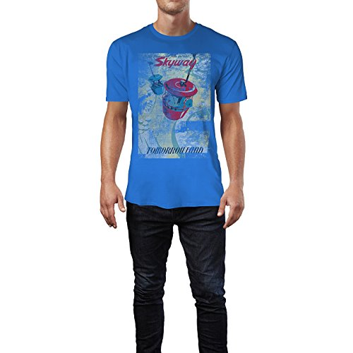 SINUS ART® Skyway Herren T-Shirts stilvolles royal blaues Fun Shirt mit tollen Aufdruck