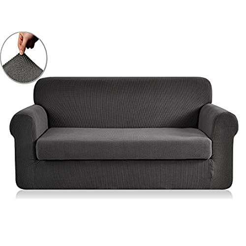 Exceptional Chunyi 2 Piece Jacquard Polyester Spandex Sofa Slipcover (Loveseat, Gray)