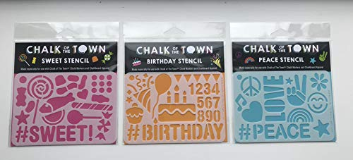 Chalk of the Town Pack of 3 Plastic Stencils Set (3.5 x 5 Inch) Happy Birthday, Peace, and Candy]()