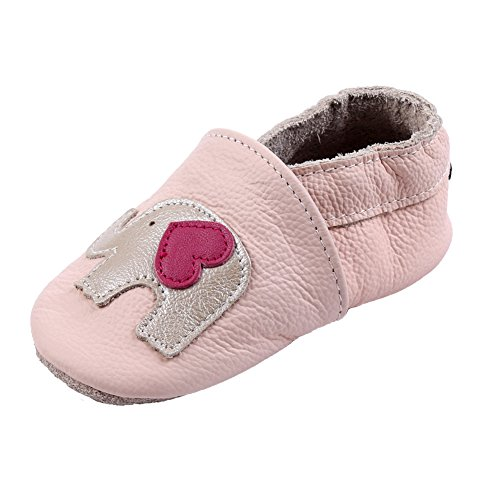 iEvolve Baby Shoes Baby Toddler Soft Sole Prewalker First Walker Crib Shoes Baby Moccasins (12-18 Months, Pink Elephant)