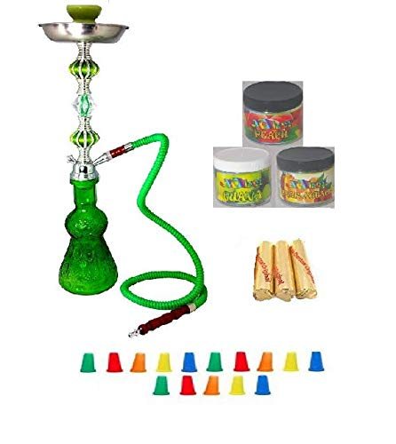 Zebra Smoke Starter Series: 18'' 2 Hose Hookah Combo Kit Set w/ Instant Charcoal (Like Three Kings Charcoal), Hydro Herbal Molasses(like Blue Mist), and Hookah Mouth Tips Smokes More Then Hookah Pen And CASE (RED)