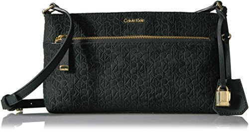 Calvin Klein Hudson Suede Top Zip Key Item Crossbody, Black/Gold (Key Item Cross Body)