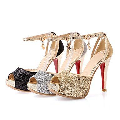 LvYuan Mujer Sandalias Materiales Personalizados Primavera Otoño Paseo Hebilla Tacón Stiletto Dorado Negro Plata 10 - 12 cms Silver