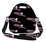 Insulated Lunch Bag - Trombone Novelty - Waterproof Durable Lunch Box Carry Case with Adjustable Shoulder Straps, Reusable Soft Lunch Tote for Work & School