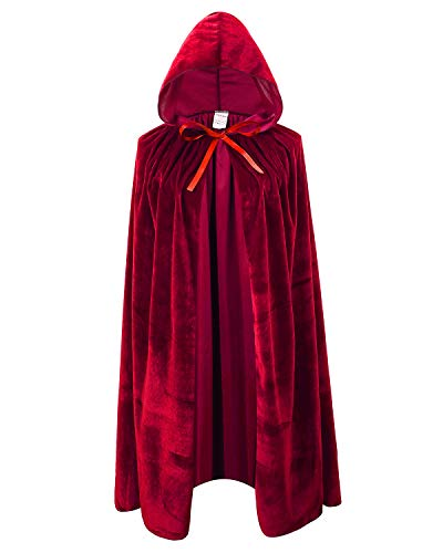 Kids Velvet Cape Cloak with Hood Unisex-Child Cosplay Halloween Christmas Costume (100cm/39.4inch, Wine Red) -