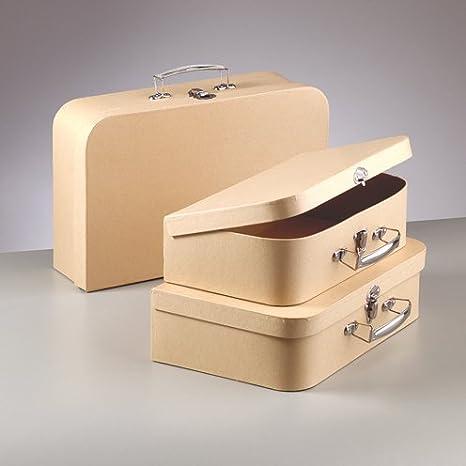 Juego de 3 maletas decorativas cartón rígido, lisa, con cerradura, de metal: Amazon.es: Hogar