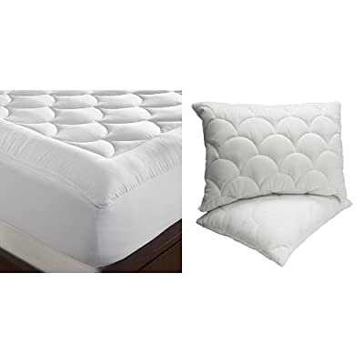 WellRest Magic Loft Cloud Mattress Pad, Twin, White and WellRest Magic Loft Cloud Pillow 2 Pack