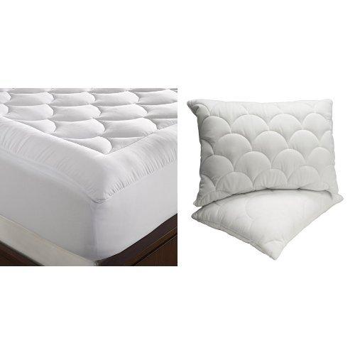 WellRest Magic Loft Cloud Mattress Pad, Twin, White and WellRest Magic Loft Cloud Pillow 2 Pack