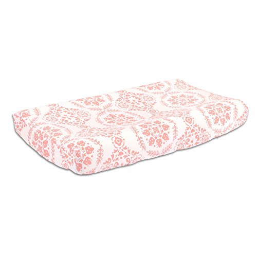 Coral Pink Medallion Design Baby Changing Pad Cover by The Peanut Shell