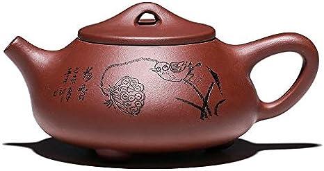 Tetera Patrón de loto olor Barco de piedra hecha a mano de la cucharada de Caldera Yixing tetera de arcilla del té, conveniente for el hogar Oficina hotel Ect