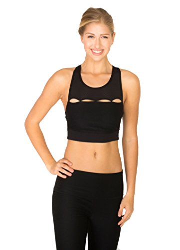 RBX Active Women's High Neck Mesh inert Bra With Cut Outs Black L