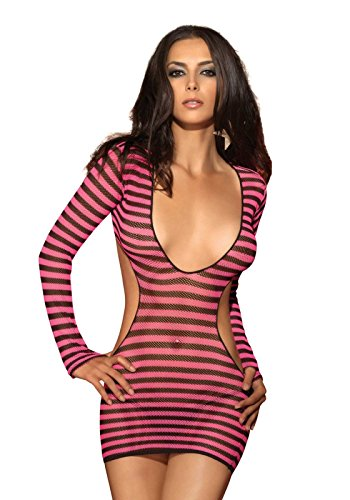Leg Avenue Women's 2 Piece Striped Fishnet Mini Dress with G-String, Black/Pink, One Size