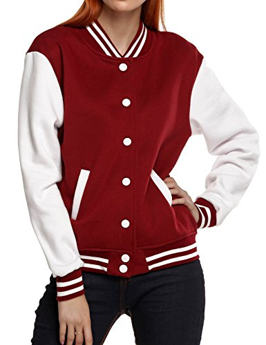 Meaneor Women's College Varsity Baseball Bomber Fleece Top Jacket Coat Burgundy XL (Best Women's Heated Jacket)