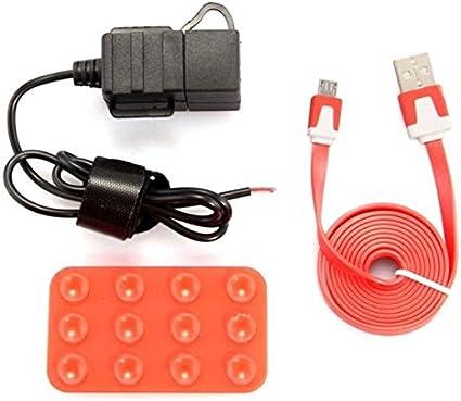 Foxnovo Motorrad Wasserdicht Dual Usb Anschluss Steckdose Sockel Handy Ladegerät Mit Micro Usb Kabel Rot Elektronik