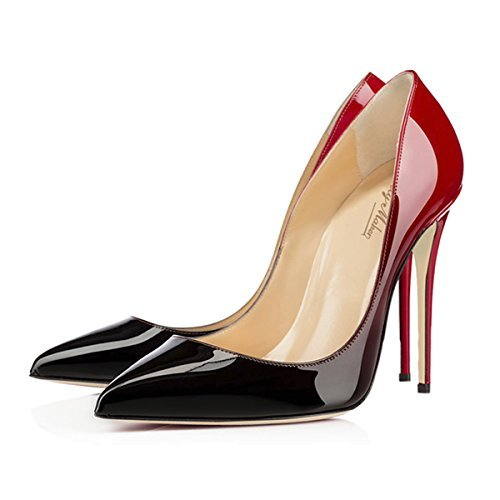 onlymaker Women's High Heel Pumps Pointed Toe Sandals Wedding Party Dress Court Shoes for Women 5-black and red FsAoVrLG