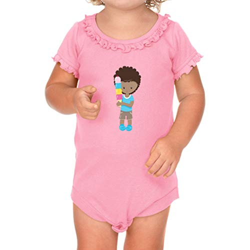 Boy Ice Cream Brown B Short Sleeve Scoop Neck Girl Sunflower Cotton Baby Ruffle Bodysuit - Soft Pink, 12 ()