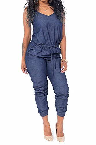 Womens Sleeveless Jumpsuits Bodycon Rompers