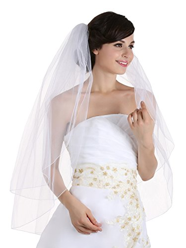 Illusions Bridal Veil - 2t 2 Tier Pencil Edge Bridal Wedding Veil - White Fingertip Length 36