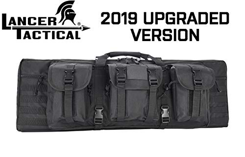 Lancer Rifle Case 600D Polyester Double Long Rifle Bag Tactical Gun Case Accessory Pouches Secondary Gun Compartment Lockable for Hunting Shooting (Black, 36