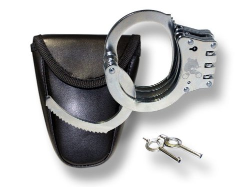 381SL - Hinged Nickel Plated Double Lock Handcuffs