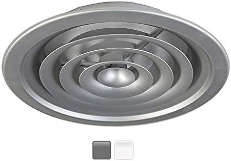 GASMOBE Difusor circular con puente regulaci/ón de caudal con aros de aluminio extruido conos fijos para instalar en el techo 10-250mm, Blanco