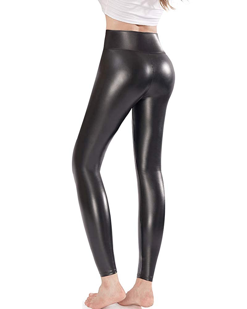 5a8f0bed6e0 Ginasy Black Faux Leather Leggings Pants, Stretchy High Waisted Tights for  Women