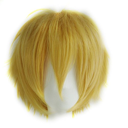 Probeauty Unisex Basic Short Hair Wig/Wigs Cosplay Party+Wig Cap (Golden Yellow)