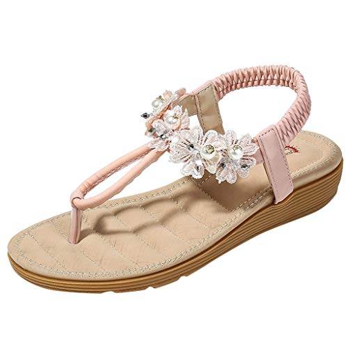 HHei_K Ladies Bohemia Flats Open Toe Ladies Casual Shoes Flower Beading Roman Sandals,Shoes for Women Flats Comfortable Pink]()