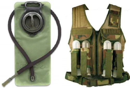 Price comparison product image Ultimate Arms Gear Woodland Camo Tactical Paintball Airsoft Battle Gear Tank-Armor Pod Vest + 2.5 Liter Hydration Backpack Water Bladder Reservoir - Includes Hosing And Hands Free Bite Valve