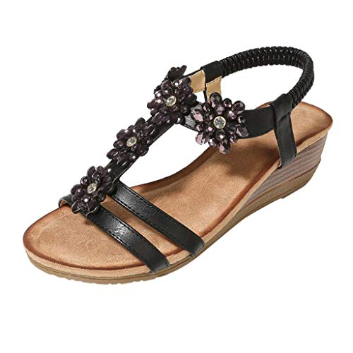 - Toimothcn Women Ethnic Flat Sandals Roman Shoes Rhinestone Beading Snake Beach Sandals(Black2,US:6.5)