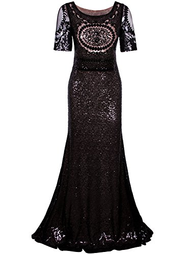 Wedding Evening Prom Gown (Vijiv 1920s Long Wedding Prom Dresses 2/3 Sleeves Sequin Beaded Party Formal Evening Gowns)
