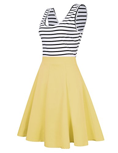 MISSKY Women's Open Back Sleeveless Sexy Hollow Out Slim Fit and Flare Black White Stripe Casual Cocktail Cute Mini Swing Dress for Summer Spring (L, Yellow)
