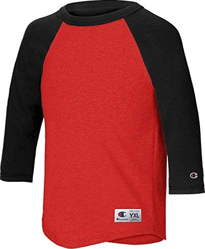 (Champion Youth Raglan Baseball T-Shirt, Scarlet/Black, S)