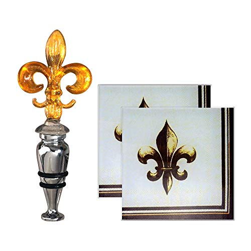 (Wine Set With Bottle Stopper, Glass Coasters, Fleur De Lis - Murano Art Deco, 3652)