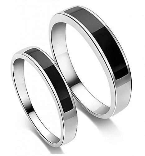 Infinite U 925 Sterling Silver Black Agate Men's Wedding Band Ring (Men, Size 11)