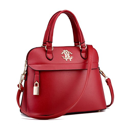 qckj Fashion Cruz Cuerpo Bolsa De Hombro carcasa mujeres PU bolso Vino Rojo