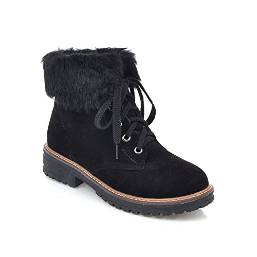 AdeeSu SXC02507 Boots Fringe Snow Black Womens Suede Bandage Boots z0qrz