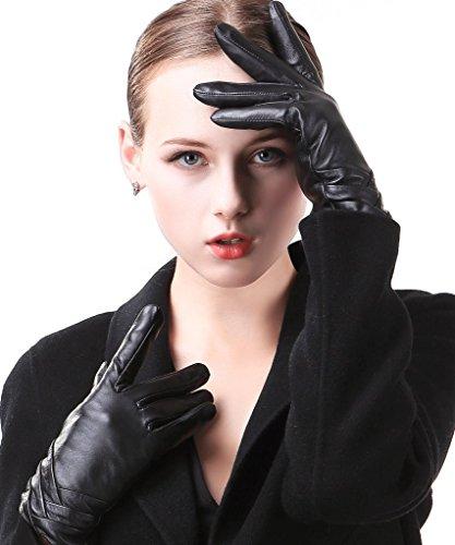 Harrms Damen Winter Handschuhe Echt Leder Touch Screen Gefüttert aus Kaschmir Wolle Lederhandschuhe, Schwarz