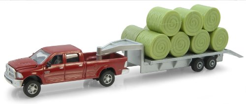 Diecast Tractor Trailer Trucks - Ertl Dodge Pickup with Diecast Trailer and Bales, 1:64-Scale